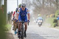 Later winner Yves Lampaert (BEL/Quick Step Floors) leads the front group up the Taaienberg<br /> <br /> 72nd Dwars door Vlaanderen 2017