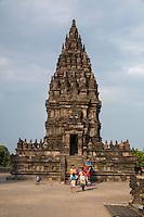 Yogyakarta, Java, Indonesia.  Visitors at the Prambanan Temples.  Angsa (Swan) Temple in Background.