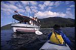 sea kayaking near Pacific Catalyst in Southeast Alaska