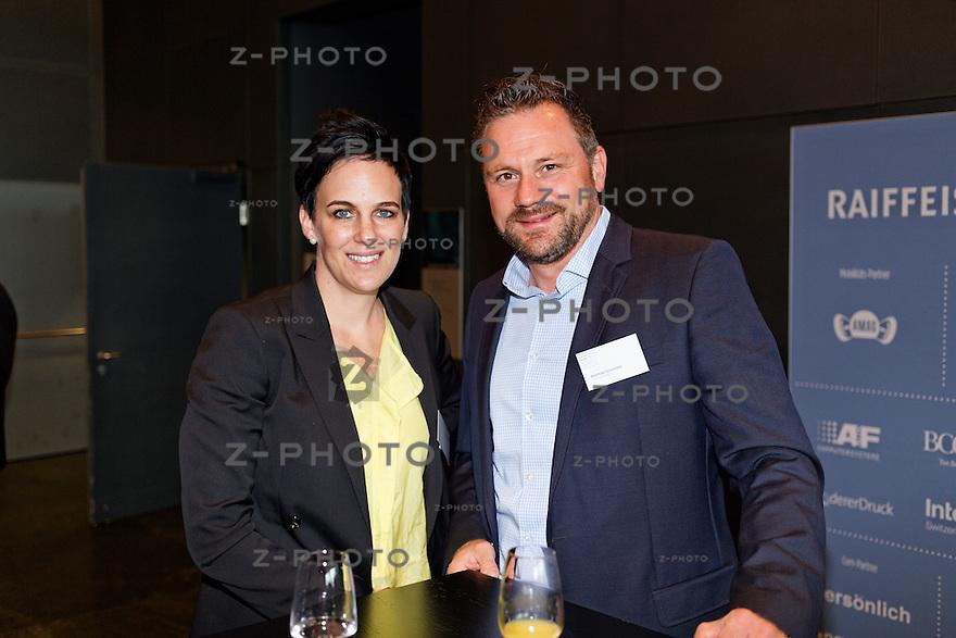 v.l.n.r. Nadine Borter - Contexta AG, Matthias Schneider- Coca‑Cola Schweiz GmbH am SwissMediaForum am 23. Mai 2013 im KKL Luzern<br /> <br /> Copyright &copy; Zvonimir Pisonic