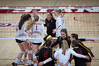 STANFORD, CA - November 15, 2017: Kate Formico, Meghan McClure, Morgan Hentz, Jenna Gray, Kathryn Plummer, Audriana Fitzmorris at Maples Pavilion. The Stanford Cardinal defeated USC 3-0 to claim the Pac-12 conference title.