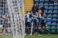 Luke O'Nien of Wycombe Wanderers celebrates his goal with teammates during the Sky Bet League 2 match between Wycombe Wanderers and Bristol Rovers at Adams Park, High Wycombe, England on 27 February 2016. Photo by Andrew Rowland.