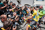 New race leader Fabio Aru (ITA) Astana on the line before the start of Stage 13 of the 104th edition of the Tour de France 2017, running 101km from Saint-Girons to Foix, France. 14th July 2017.<br /> Picture: ASO/Pauline Ballet | Cyclefile<br /> <br /> <br /> All photos usage must carry mandatory copyright credit (&copy; Cyclefile | ASO/Pauline Ballet)