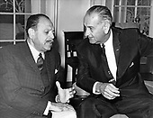 United States President Lyndon B. Johnson meets President Ayub Khan of Pakistan in the Oval Office of the White House in Washington, DC on December 14, 1965 following a welcoming ceremony on the South Lawn. <br /> Credit: Arnie Sachs / CNP