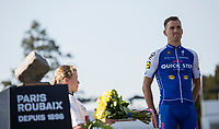 runner-up Zdenek Stybar (CZE/Quick Step Floors looking a bit dissapointed on the podium<br /> <br /> 115th Paris-Roubaix 2017 (1.UWT)<br /> One day race: Compi&egrave;gne &gt; Roubaix (257km)