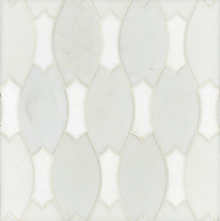 Lana, a stone water jet mosaic, shown in Heavenly Cream and Thassos, is part of the Ann Sacks Beau Monde collection sold exclusively at www.annsacks.com