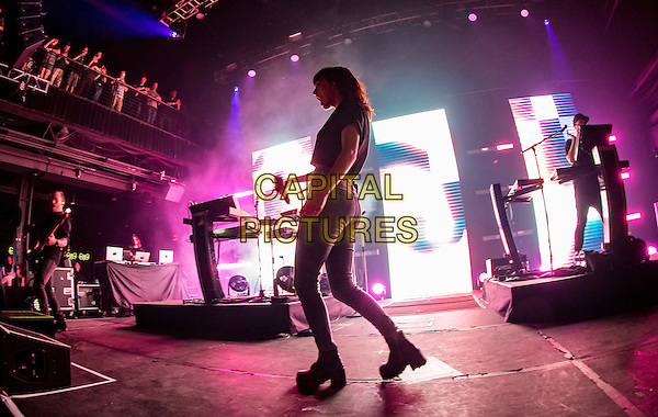 LAS VEGAS, NV - April 21, 2016: ***HOUSE COVERAGE*** Chvrches performs at Brooklyn Bowl Las Vegas at The Linq in Las vegas, NV on April 21, 2016. <br /> CAP/MPI/EKP<br /> &copy;EKP/MPI/Capital Pictures