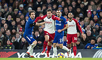 Grzegorz Krychowiak of WBA holds off Cesc Fabregas of Chelsea during the Premier League match between Chelsea and West Bromwich Albion at Stamford Bridge, London, England on 12 February 2018. Photo by Andy Rowland.