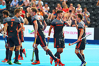Netherland's players celebrate opening the scoring during the Hockey World League Quarter-Final match between Netherlands and China at the Olympic Park, London, England on 22 June 2017. Photo by Steve McCarthy.<br /> <br /> Netherlands v China at the Olympic Park, London, England on 22 June 2017. Photo by Steve McCarthy.