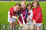 Demonstrating their hurling skills at the hurling Cúl Camp in Fitzgerald Stadium last week. .L-R Ellen Farndon, Kate and Ava Rudden and Geraldine Murphy.