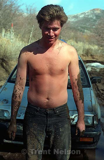 Paul Doerr covered in mud after pushing my car.<br />