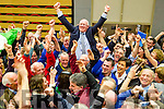 John Brassil celebrates with his supporters after being elected at the Kerry General Election Count in Killarney.