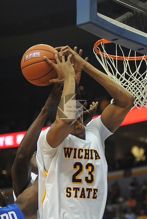 March 5,  2011       The ball falls over the back of the head of Wichita State Shockers guard Toure' Murry (23) in the first half.  Indiana State played Wichita State in the second semifinal game of the NCAA Missouri Valley Conference Men's Basketball Tournament onSaturday March 5, 2011 at the Scottrade Center in downtown St. Louis.