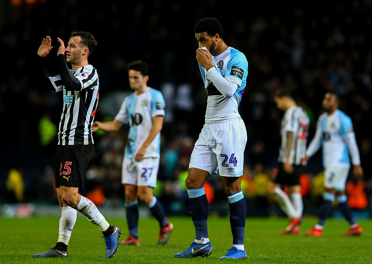 Blackburn Rovers' Joe Nuttall reacts after the final whistle<br /> <br /> Photographer Alex Dodd/CameraSport<br /> <br /> Emirates FA Cup Third Round Replay - Blackburn Rovers v Newcastle United - Tuesday 15th January 2019 - Ewood Park - Blackburn<br />  <br /> World Copyright &copy; 2019 CameraSport. All rights reserved. 43 Linden Ave. Countesthorpe. Leicester. England. LE8 5PG - Tel: +44 (0) 116 277 4147 - admin@camerasport.com - www.camerasport.com