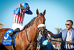 DEL MAR, CA August 05: #3 Bellafina  with Flavien Prat after their score in the Grade II Sorrento Stakes at Del Mar on August 05, 2018 in Del Mar, California (Photo by Chris Crestik/Eclipse Sportswire)