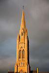 Spire St John's RC church against stormy sky, Bath