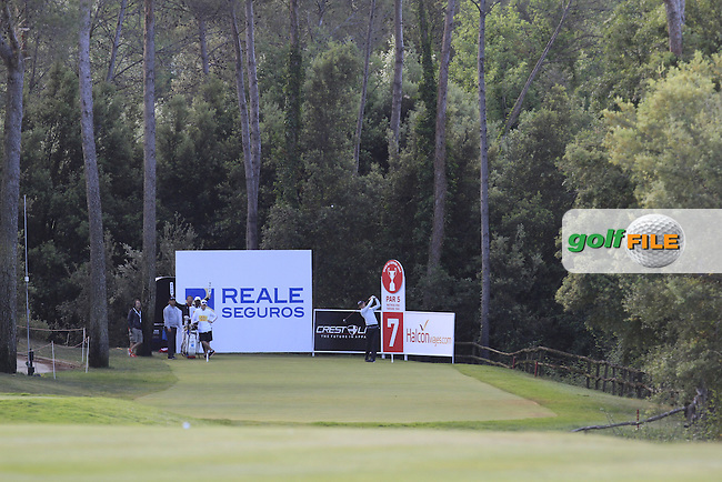 Tom Murray (ENG) on the 7th tee during Round 3 of the Open de Espana  in Club de Golf el Prat, Barcelona on Saturday 16th May 2015.<br /> Picture:  Thos Caffrey / www.golffile.ie