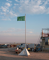 A green flag meaning it's safe to walk around at the Spaceport America Cup near the town of Truth or Consequences, New Mexico, Friday, June 23, 2017. The International Intercollegiate Rocket Engineering Competition hosted over 110 teams from colleges and universities in eleven countries. Students launched solid, liquid, and hybrid rockets to target altitudes of 10,000 and 30,000 feet. The 2017 Spaceport America Cup winner was the University of Michigan, Ann Arbor, Team 79.<br /> <br /> Photo by Matt Nager