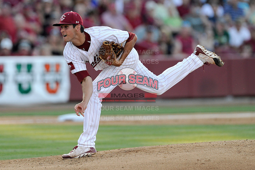 Starting pitcher Joel Seddon (6) of the South Carolina Gamecocks delivers a pitch in an NCAA Division I Baseball Regional Tournament game against the Maryland Terrapins on Sunday, June 1, 2014, at Carolina Stadium in Columbia, South Carolina. Maryland won, 10-1, to win the tournament. (Tom Priddy/Four Seam Images)