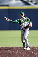 Eastern Michigan Eagles second baseman Jared Kauffman (15) makes a throw to first base during the NCAA baseball game against the Michigan Wolverines on May 8, 2019 at Ray Fisher Stadium in Ann Arbor, Michigan. Michigan defeated Eastern Michigan 10-1. (Andrew Woolley/Four Seam Images)