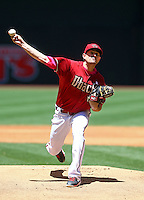 May 10, 2015; Phoenix, AZ, USA; Arizona Diamondbacks pitcher Daniel Hudson throws in the first inning against the San Diego Padres at Chase Field. Mandatory Credit: Mark J. Rebilas-USA TODAY Sports