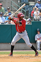 Keon Broxton (53) of the Altoona Curve bats during a game against the New Britain Rock Cats at New Britain Stadium on June 25, 2014 in New Britain, Connecticut.  New Britain defeated Altoona 3-1.  (Gregory Vasil/Four Seam Images)