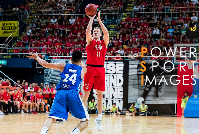 Dominic Robert Gilbert #11 of SCAA Men's Basketball Team shoots the ball against the Eastern Long Lions during the Hong Kong Basketball League playoff game between SCAA and Eastern Long Lions at Queen Elizabeth Stadium on July 27, 2018 in Hong Kong. Photo by Yu Chun Christopher Wong / Power Sport Images