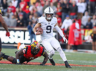 College Park, MD - November 25, 2017:Penn State Nittany Lions quarterback Trace McSorley (9) runs the ball during game between Penn St and Maryland at  Capital One Field at Maryland Stadium in College Park, MD.  (Photo by Elliott Brown/Media Images International)