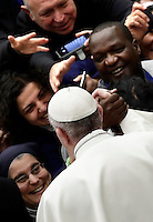 Papa Francesco saluta i fedeli al termine di un'udienza speciale per i membri della Conferenza Episcopale italiana, CEI, in Aula Paolo Vi. Citt&agrave; del Vaticano, 5 gennaio 2017.<br /> Pope Francis greets faithful at the and of a special audience with members of the Italian Episcopal Conference, CEI, in Paul VI Hall at the Vatican, on January 5, 2017.<br /> UPDATE IMAGES PRESS/Isabella Bonotto<br /> <br /> STRICTLY ONLY FOR EDITORIAL USE