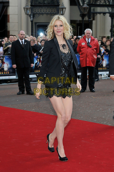 "GWYNETH PALTROW .Attending the UK Film Premiere of ""Iron Man"" held at the Odeon Leicester Square, London, England, April 24th 2008..full length black lace mini dress jacket blazer shoes heels square toe.CAP/PL.©PL/Capital Pictures"