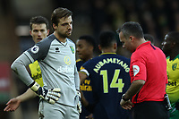 1st December 2019; Carrow Road, Norwich, Norfolk, England, English Premier League Football, Norwich versus Arsenal; Tim Krul of Norwich City with the referee awaiting the decision from VAR to re-take the penalty - Strictly Editorial Use Only. No use with unauthorized audio, video, data, fixture lists, club/league logos or 'live' services. Online in-match use limited to 120 images, no video emulation. No use in betting, games or single club/league/player publications