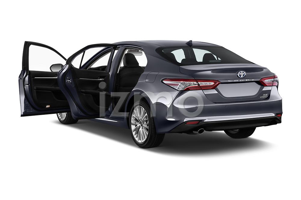 Car images close up view of a 2019 Toyota Camry XLE Hybrid 4 Door Sedan doors