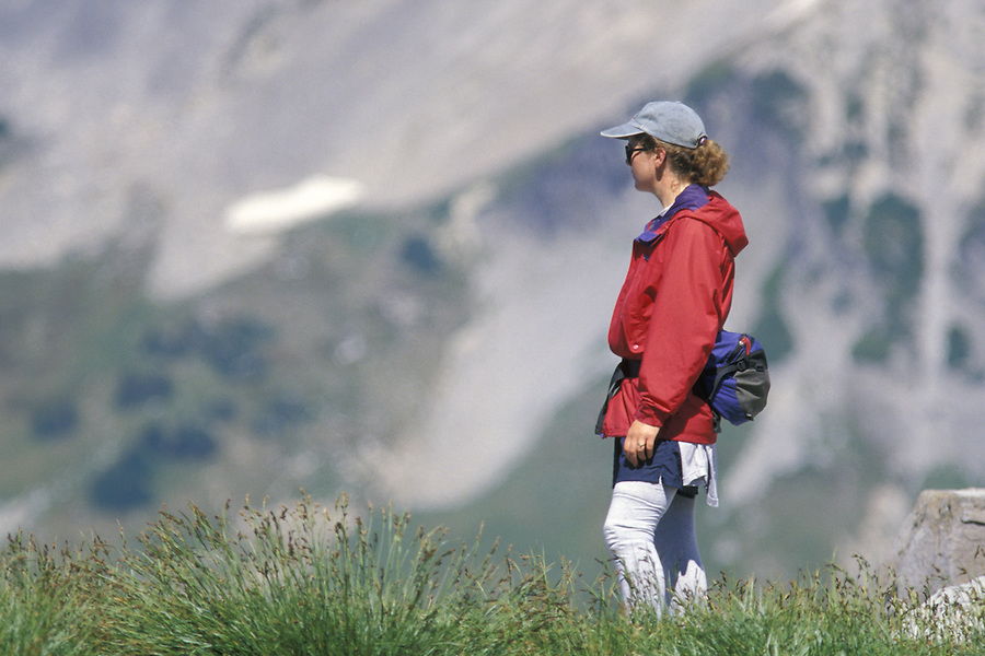 Woman hiking, Mount Rainier National Park, Washington
