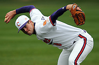 Clemson sidearm righthanded pitcher Clinton McKinney warms up prior to a game between the Clemson Tigers and Mercer Bears on Feb. 24, 2008, at Doug Kingsmore Stadium in Clemson, S.C. Photo by: Tom Priddy/Four Seam Images