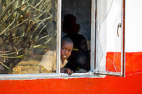 A young boy looks out a window at a small village school outside of Victoria falls, Zimbabwe.
