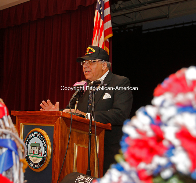 Torrington, CT-11116MK05 Vietnam veteran Sam Saliby delivers the keynote speech during the Torrington Veterans Support Committee the Veterans Day observance ceremony Friday at Coe Memorial Park.