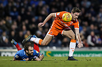 Blackpool's Ben Heneghan competing with Portsmouth's Brett Pitman<br /> <br /> Photographer Andrew Kearns/CameraSport<br /> <br /> The EFL Sky Bet League One - Portsmouth v Blackpool - Saturday 12th January 2019 - Fratton Park - Portsmouth<br /> <br /> World Copyright © 2019 CameraSport. All rights reserved. 43 Linden Ave. Countesthorpe. Leicester. England. LE8 5PG - Tel: +44 (0) 116 277 4147 - admin@camerasport.com - www.camerasport.com