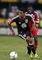 WASHINGTON, DC. - AUGUST 22, 2012:  Lionard Pajoy (26) of DC United scored his first goal for United against the Chicago Fire during an MLS match at RFK Stadium, in Washington DC,  on August 22. United won 4-2.