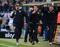 Fussball 1. Bundesliga :  Saison   2010/2011   32. Spieltag  21.04.2012 Borussia Dortmund - Borussia Moenchengladbach Jubel nach dem Tor zum 2:0, Trainer Juergen Klopp (v. li., Borussia Dortmund)