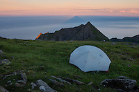 Wild camping on summit of Veinestind, Moskenesøy, Lofoten Islands, Norway