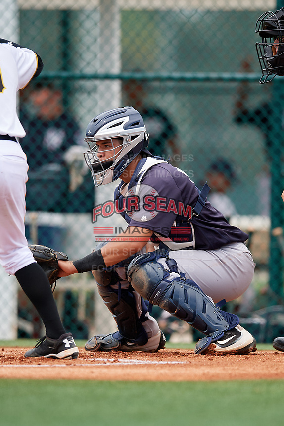 GCL Yankees East catcher Pedro Diaz (55) waits to receive a pitch during the second game of a doubleheader against the GCL Pirates on July 31, 2018 at Pirate City Complex in Bradenton, Florida.  GCL Pirates defeated GCL Yankees East 12-4.  (Mike Janes/Four Seam Images)