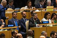 Nova York (EUA), 24/09/2019 - Assembléia Geral / ONU -Eduardo Bolsonaro, Ricardo Salles, Ernesto Araújo e Michelle Bolsonaro durante abertura da 74ª Assembleia Geral da Organização das Nações Unidas (ONU)  em Nova York nos Estados Unidos nesta terça-feira, 24. (Foto: William Volcov/Brazil Photo Press/Agencia O Globo) Mundo