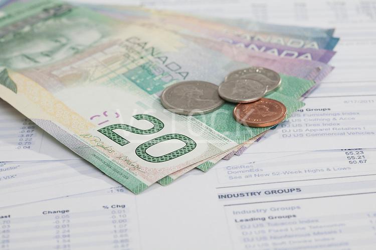 Studio shot of money on financial report