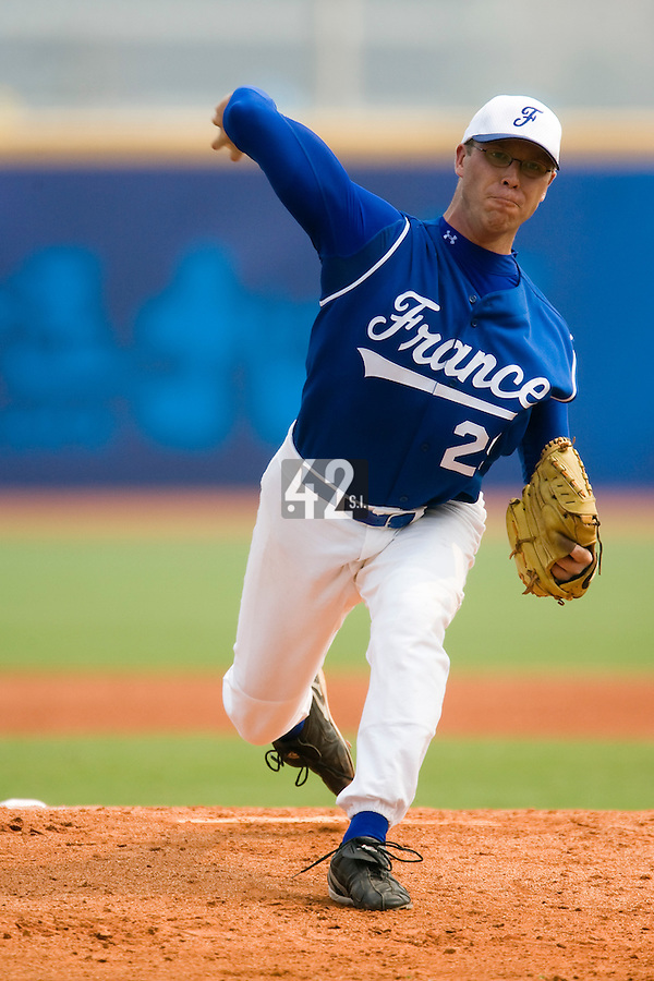 18 August 2007: Pitcher #29 Maxime Leblanc pitches during the China 5-1 victory over France in the Good Luck Beijing International baseball tournament (olympic test event) at the Wukesong Baseball Field in Beijing, China.