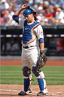New York Mets catcher Josh Thole #30 during a game against the Milwakee Brewers at Citi Field on August 21, 2011 in Queens, NY.  Brewers defeated Mets 6-2.  Tomasso DeRosa/Four Seam Images