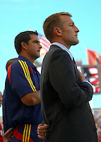 Jeff Cassar and Jason Kreis (coaches) at the San Jose Earthquakes @ Real Salt Lake 1-1 draw at Rio Tinto Stadium in Sandy, Utah on July 03, 2009