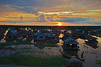 Sunrise and crossing the Tonle Sap Lake Cambodia