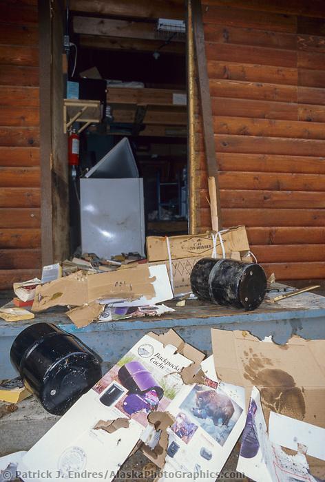 Damage to a log cabin facility by a coastal brown bear, Brooks Lodge, Katmai National Park, Alaska