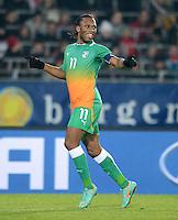 Fussball International  Freundschaftsspiel   14.11.2012 Oesterreich - Elfenbeinkueste Jubel Didier Drogba (Elfenbeinkueste)