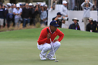Tiger Woods (USA) on the 10th green during the First Round - Four Ball of the Presidents Cup 2019, Royal Melbourne Golf Club, Melbourne, Victoria, Australia. 12/12/2019.<br /> Picture Thos Caffrey / Golffile.ie<br /> <br /> All photo usage must carry mandatory copyright credit (© Golffile | Thos Caffrey)